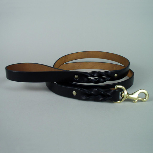 """Braided Leather Dog Leash With Matching Edge Two Foot Length 1"""" wide"""