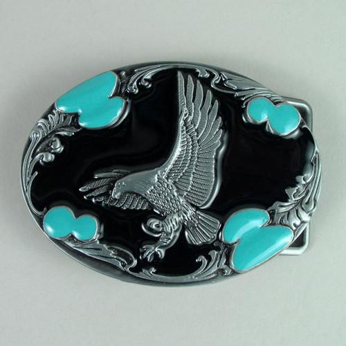Eagle Belt Buckle (F) Black Fits 1 1/2 Inch Wide Belt.