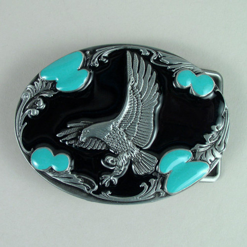 Eagle Belt Buckle (F) Black Fits 1 1/2 Inch Wide Belt.