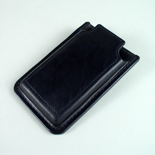 Firm leather smartphone case with open top for quick easy access.