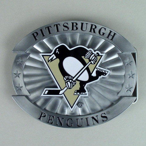 Pittsburgh Penguins Belt Buckle Fits 1 1/2 Inch Wide Belt.