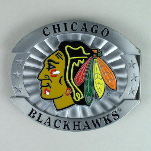 Chicago Blackhawks Belt Buckle Fits 1 1/2 Inch Wide Belt.