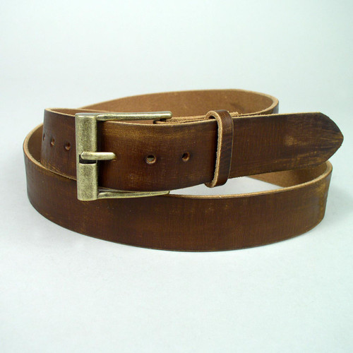 Gold color antique buckle on this dark brown vintage belt that has scuffing done with sandpaper to give the leather a distressed worn look.