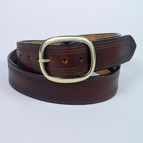 This brown full grain leather money belt has a very long zipper pocket for bills.