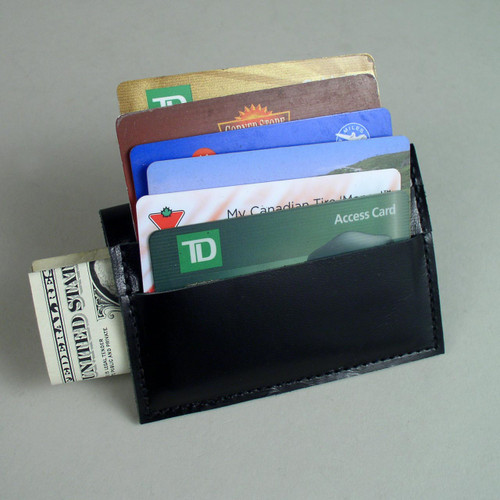 Side pocket of this leather card holder wallet accomodates  American Money or Id cards.  Six cards held in front.