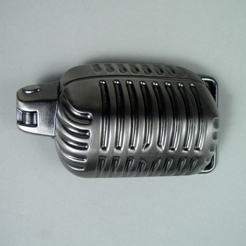 Microphone Belt Buckle (B) Fits 1 1/2 Inch Wide Belt.