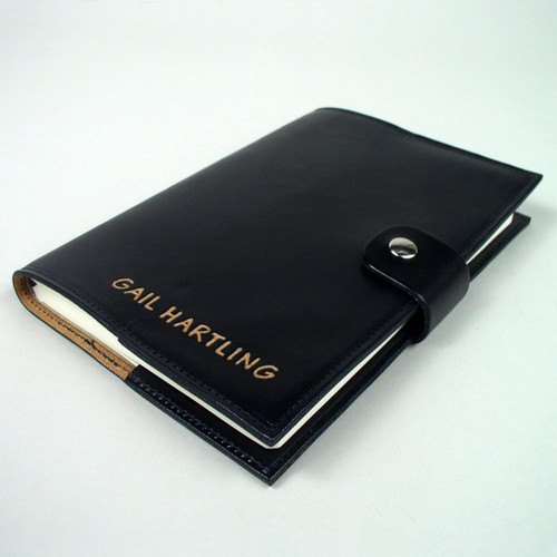 Black leather journal personalized.