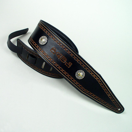 This wide leather bass strap has a foam padding and is lined with a soft garment leather.  The natural imprinted lettering is undyed.