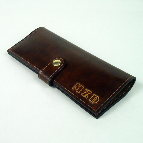 Personalized handmade leather wallet for women.  Imprinted lettering shown is undyed color.