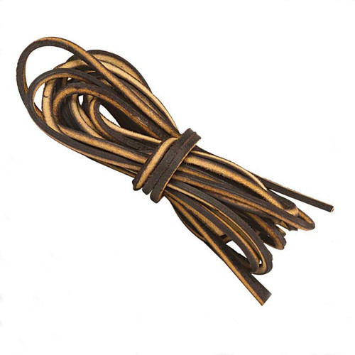 Strong brown logger leather laces for boots, moccasins and deck shoes.