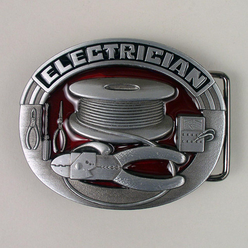 Electrician Belt Buckle (D) Fits 1 1/2 Inch Wide Belt.