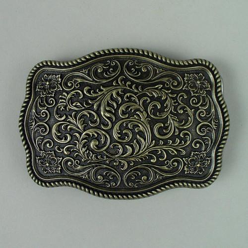 Floral Western Belt Buckle (B) Fits 1 1/2 Inch Wide Belt.