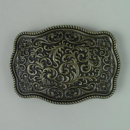 Floral Western Belt Buckle (B) Fits 1 1/2 Inch Wide Belt.