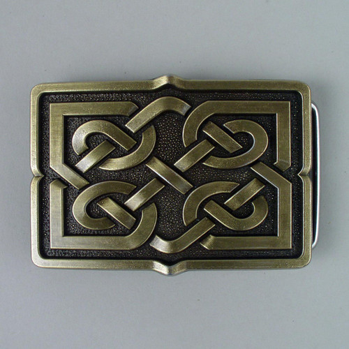 Gold Celtic Knot Belt Buckle (B) Fits 1 1/2 Inch Wide Belt.