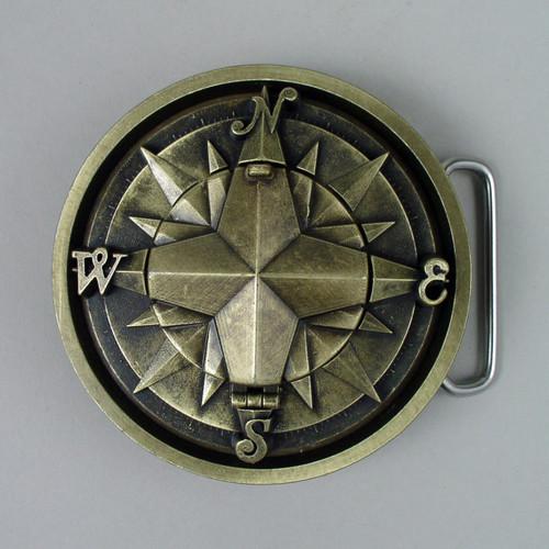 Gold Compass Belt Buckle Fits 1 1/2 Inch Wide Belt.