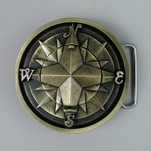 Gold Compass Belt Buckle Fits 1 1/2 Inch Wide Belt.