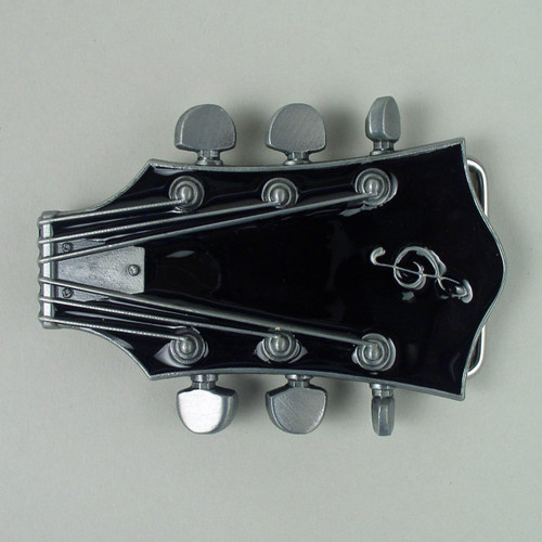 Guitar Headstock Belt Buckle Fits 1 1/2 Inch Wide Belt.