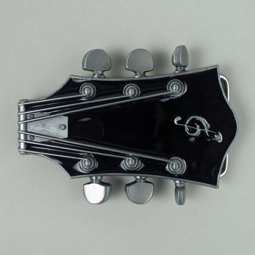 Guitar Headstock Belt Buckle Fits 1 1/2 Inch Wide Belt.