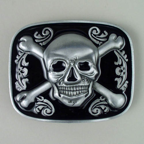 Jolly Roger Pirate Skull Bottle Opener Belt Buckle Fits 1 1/2 Inch Wide Belt.
