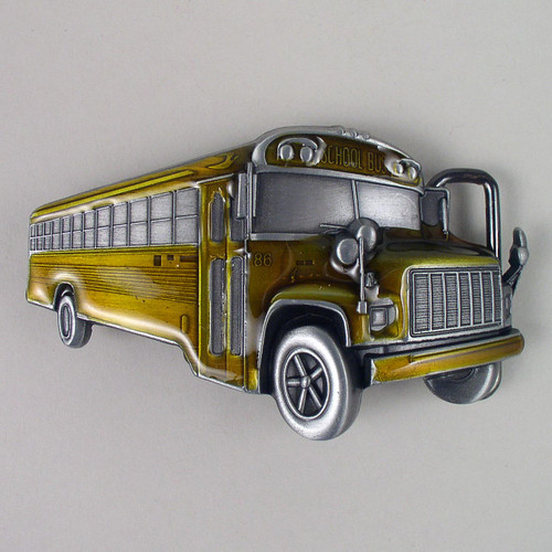 School Bus Belt Buckle Fits 1 1/2 Inch Wide Belt.