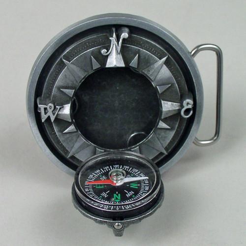 Silver Compass Belt Buckle Fits 1 1/2 Inch Wide Belt.