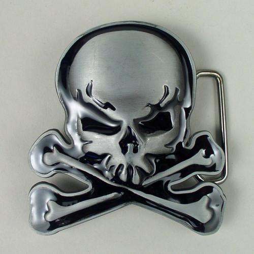 Skull Crossbones Belt Buckle Fits 1 1/2 Inch Wide Belt.