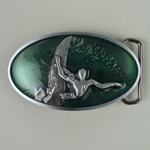 Surfer Belt Buckle (C) Fits 1 1/2 Inch Wide Belt.