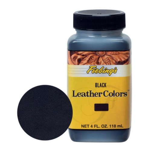 Fiebing's black LeatherColors is a non-flammable water based penetrating dye for natural vegetable tanned leathers.