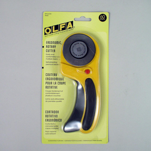This OLFA RTY-3/DX large rotary cutter is ideal for soft garment leather as well as thinner leather and for trimming leather linings.