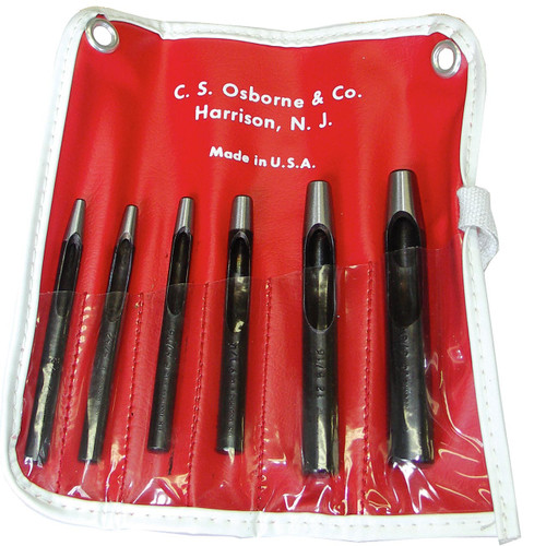 This set of six belt punches made by C.S. Osborne includes the most commonly used hole sizes.