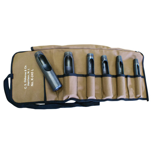 "This leather hole punch set includes the most frequently used larger round holes sizes: 1/2"", 5/8"", 9/16"", 3/4"" & 1"" in a sturdy tool canvas roll."