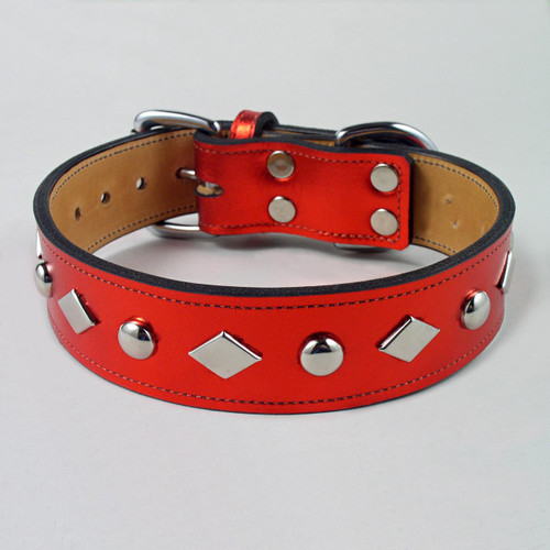 "Studded Metallic Leather Dog Collar 1 1/4"" wide"