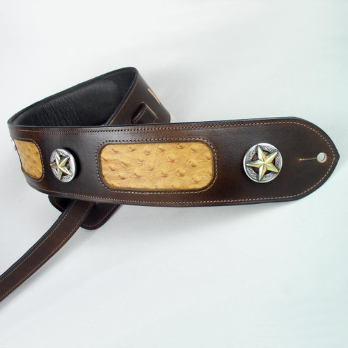 The western pride leather guitar strap can be padded with a soft foam padding which you can see under the soft garment leather lining in the top left portion of this photo.