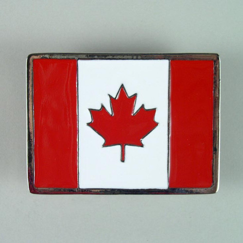 Canadian Flag Belt Buckle Fits 1 1/2  To 1 3/4 Inch Wide Belts.