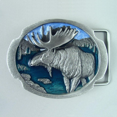 Moose Belt Buckle Fits 1 1/2 Inch Wide Belt.