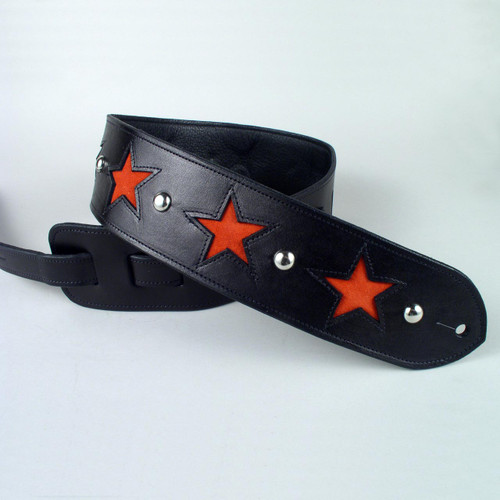 Your rock star guitar strap is made of full grain leather and lined with a soft garment cowhide.