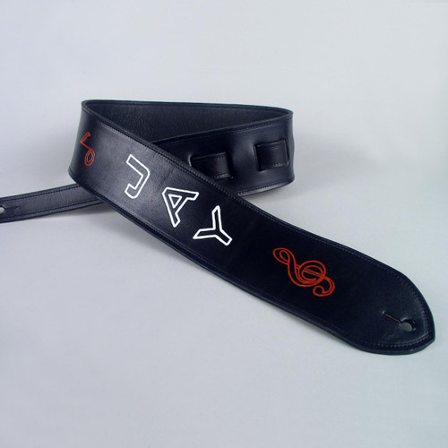 This full grain leather personalized guitar strap is lined with soft black garment leather.