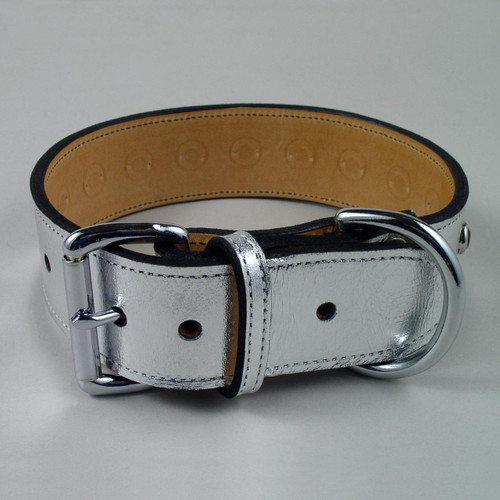 "Jeweled Metallic Leather Dog Collar 1"" wide"