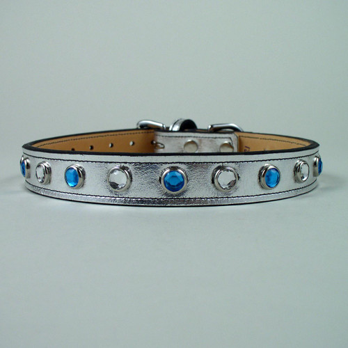 Jeweled metallic leather dog collar for lots of bling.