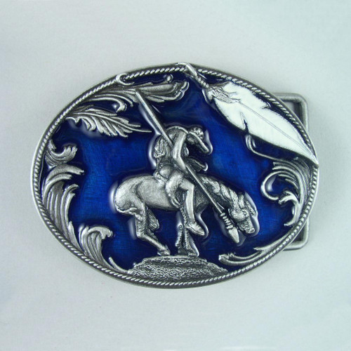 Native On Horse Belt Buckle Fits 1 1/2 Inch Wide Belt.