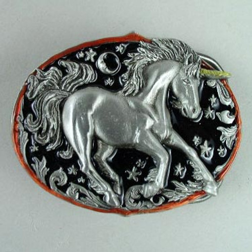 Unicorn Belt Buckle Fits 1 1/2 To 1 3/4 Inch Wide Belts.