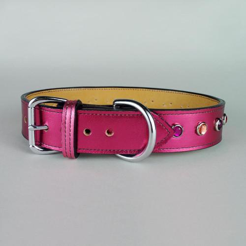 Pink metallic leather dog collar with jewel studs.