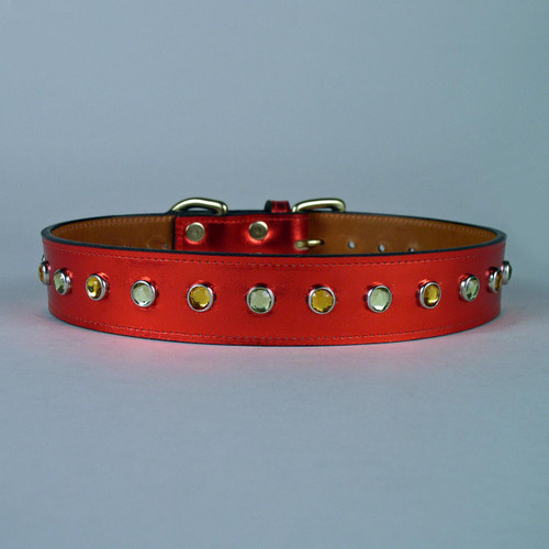 Red leather dog collar in metallic finish decorated with acrylic jeweled studs.