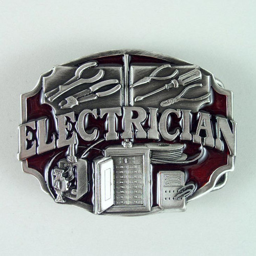 Electrician Belt Buckle (B) Fits 1 1/2 To 1 3/4 Inch Wide Belts.