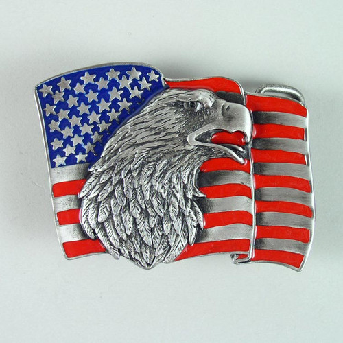 American Flag Belt Buckle (A) Fits 1 1/2 To 1 3/4 Inch Wide Belts.