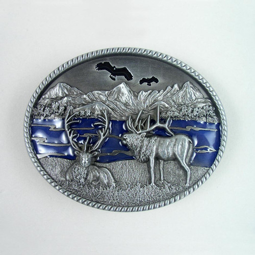 Deer Belt Buckle (D) Fits 1 1/2 Inch Wide Belt.