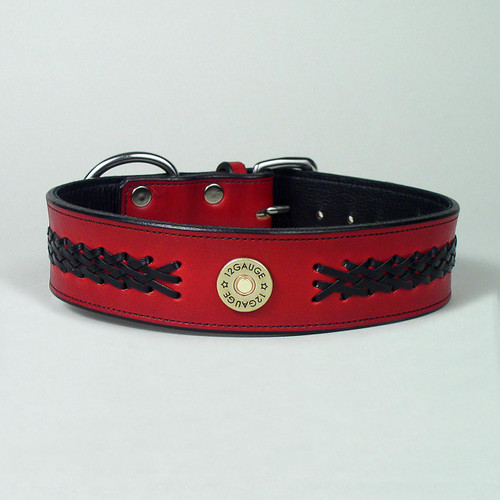 Black leather lace braiding decorates handcrafted red leather dog collar.