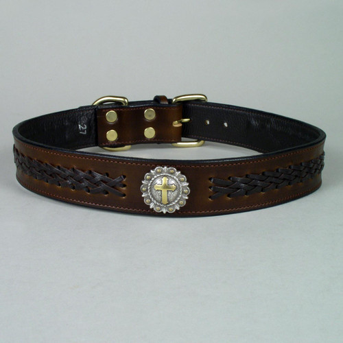 Brown braided lace dog collar with decorative metal concho.