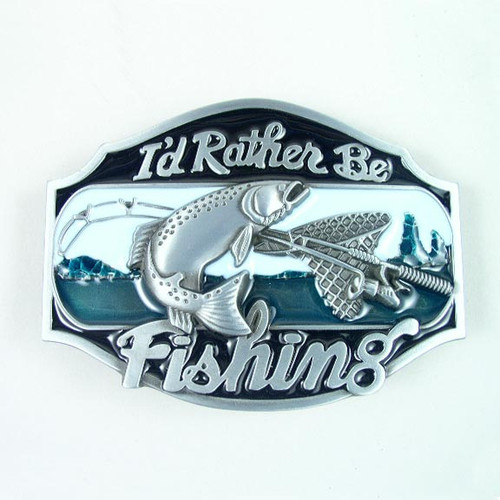 I'd Rather Be Fishing Buckle (B) Fits 1 1/2 Inch Wide Belt.