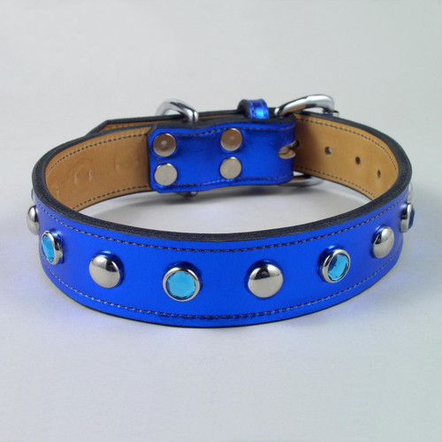 "Jewel & Stud Metallic Leather Dog Collar 1 1/4"" wide"